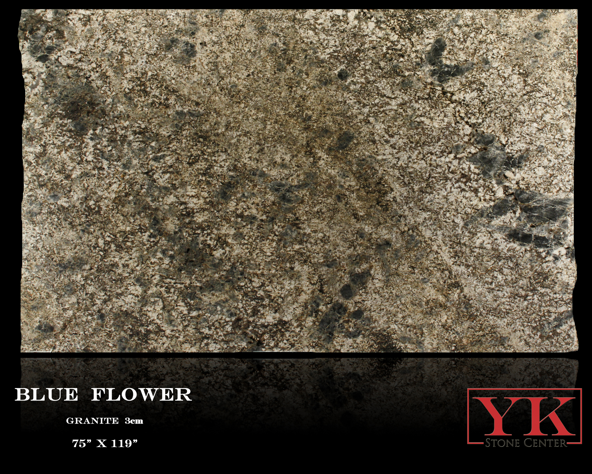 Blue Flower Granite Slabs, YK Stone Center In Denver Colorado, Natural Stone Showroom