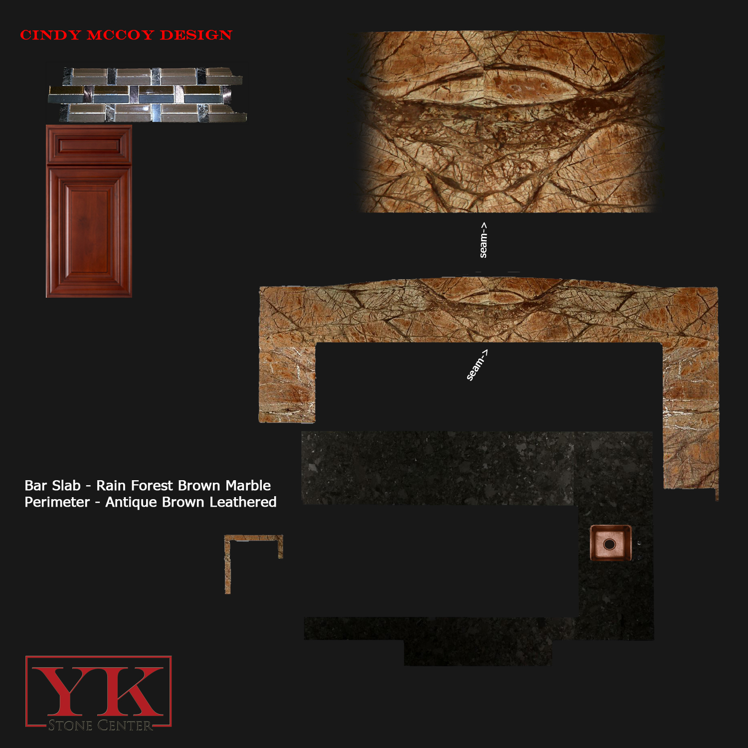 Rainforest Brown bar countertop, Antique Brown leathered Kitchen countertop