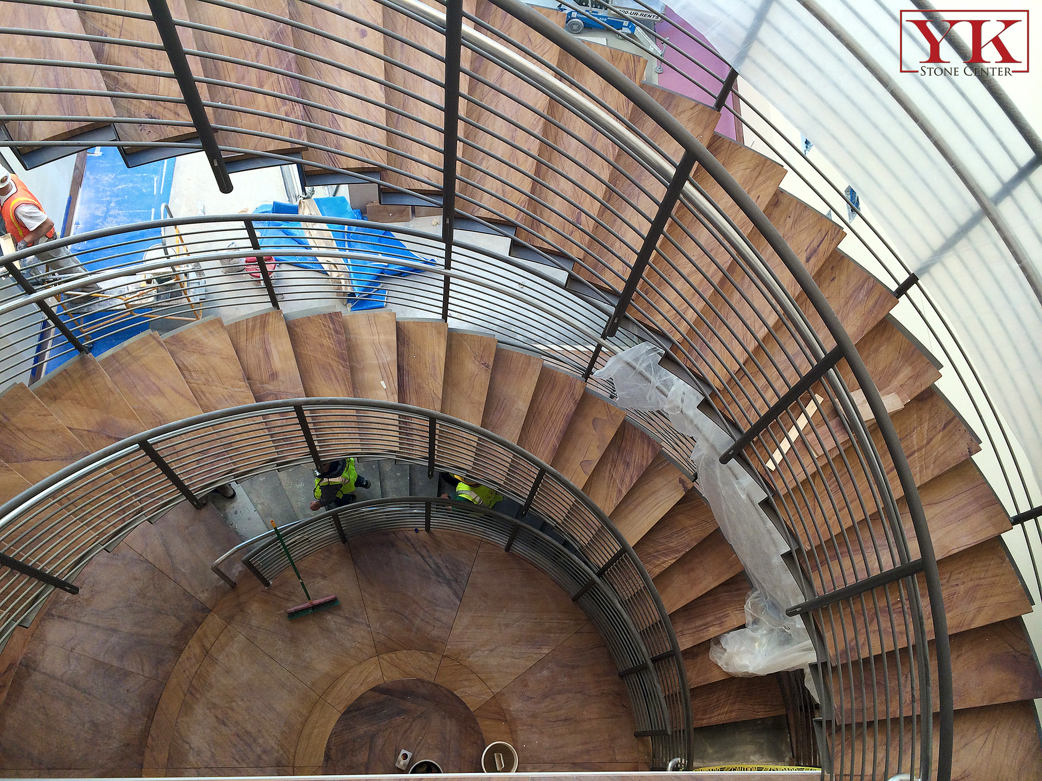 before and after antero resources completed project in denver colorado, installed raound stairs in antero resources building, union one station in denver colorado, yk stone center