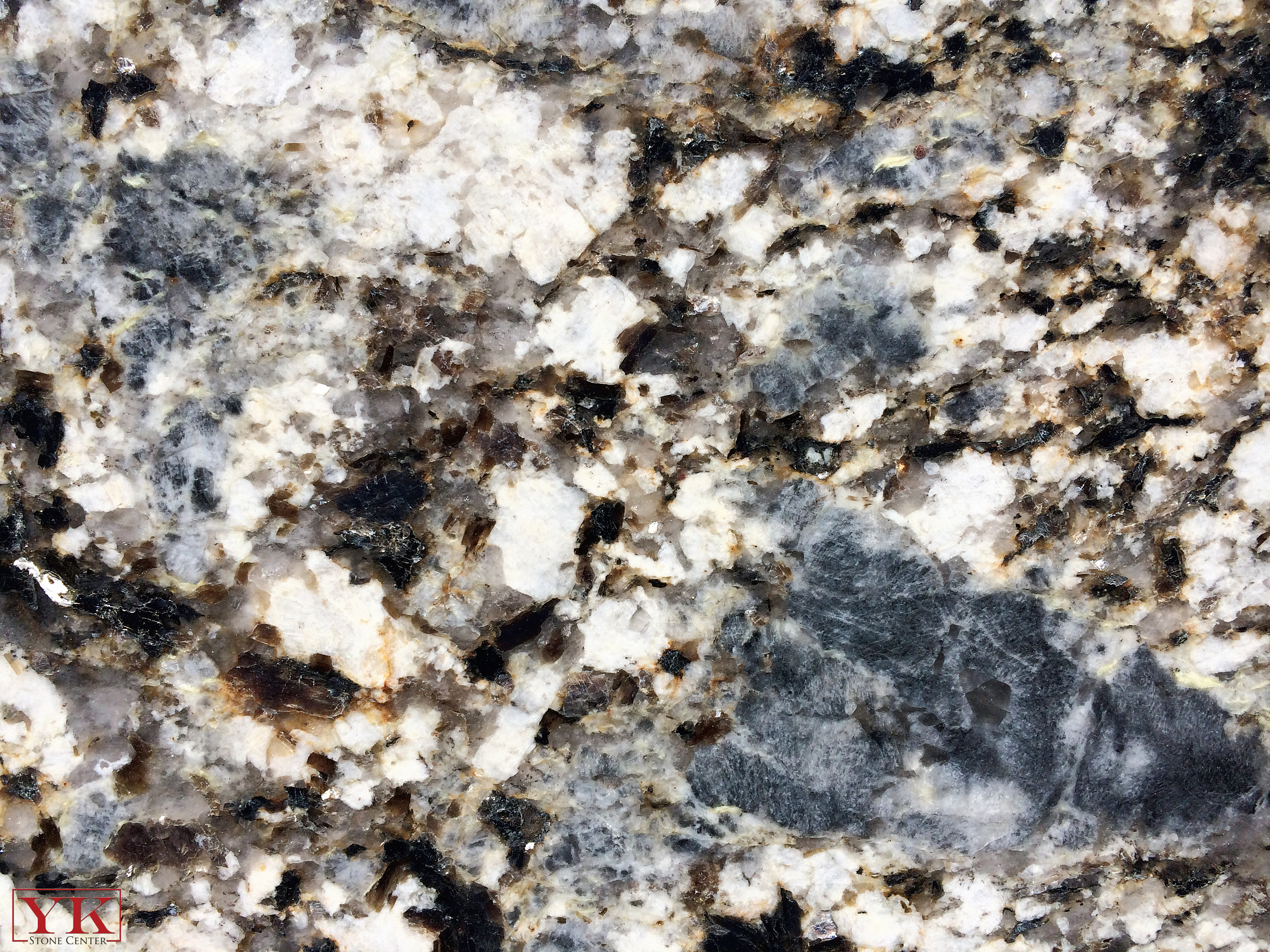 Blue Flower Granite Close up, Minerals in granite stone, YK Stone center in denver