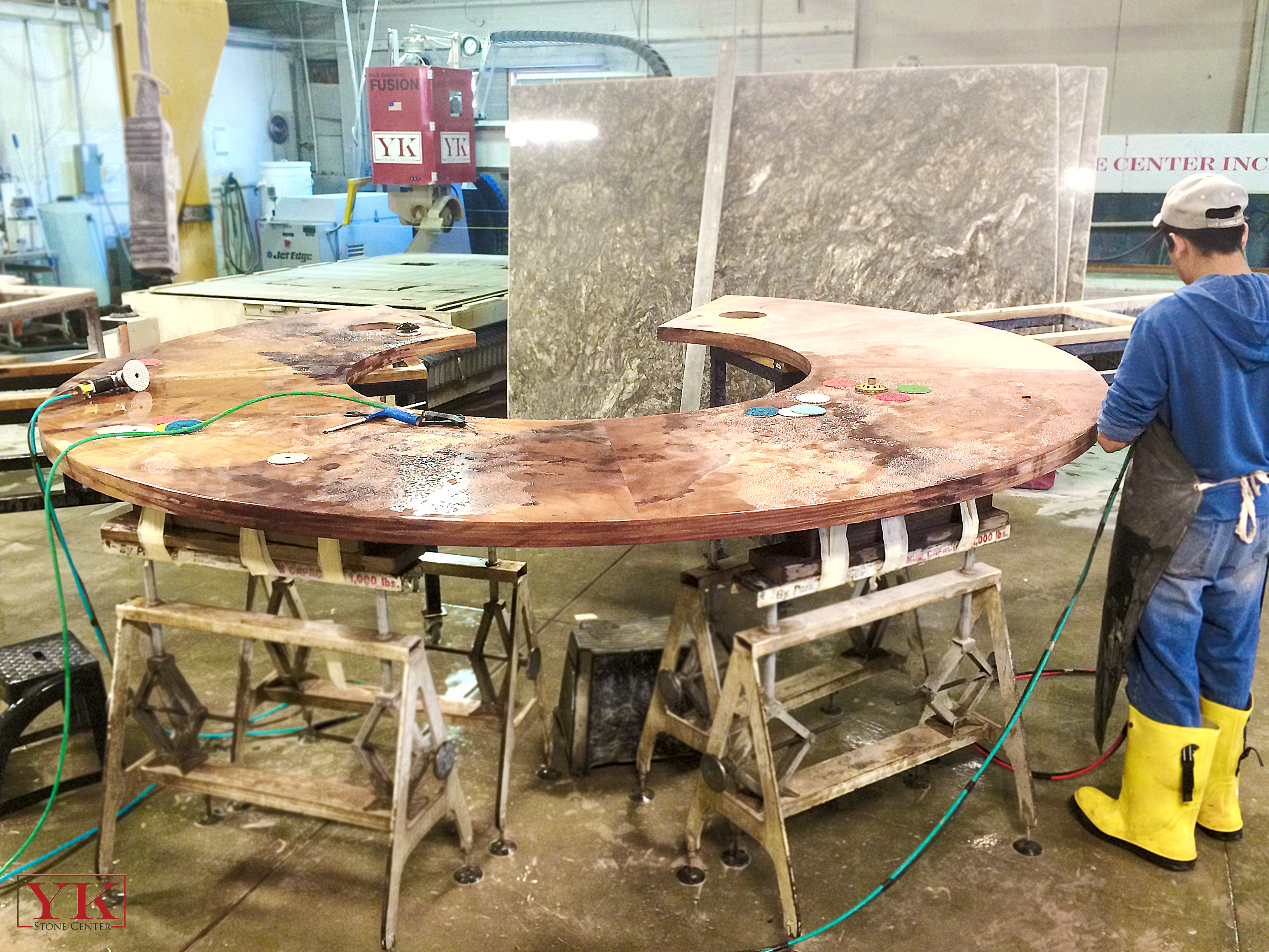 union station tables, fabrication for antero resources in denver colorado, yk stone center fabrication shop denver, co