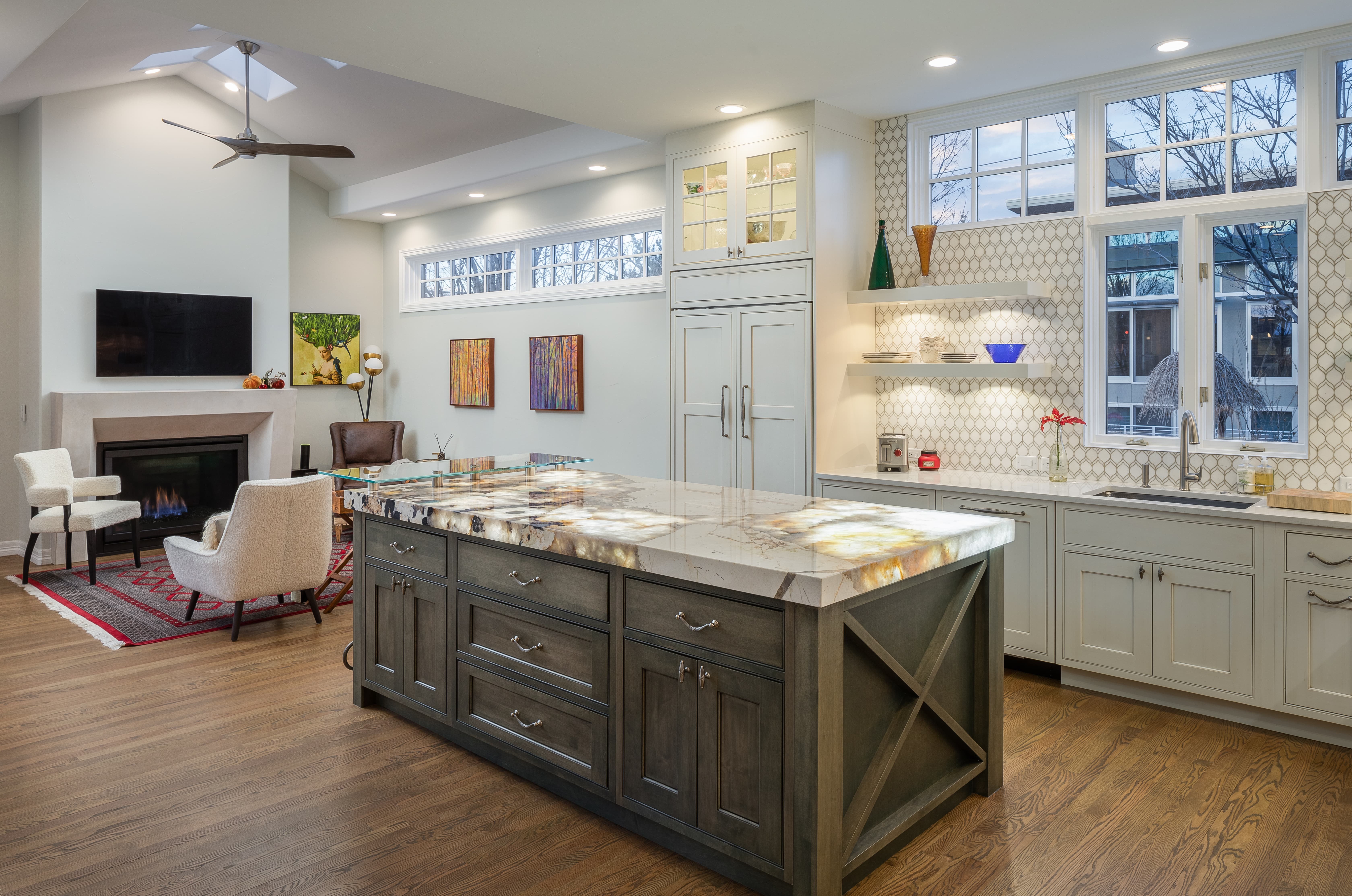 YK Stone Center fabrication shop denver, patagonia kitchen island LED island