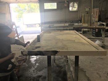 YK Stone Center fabrication shop denver, patagonia kitchen island