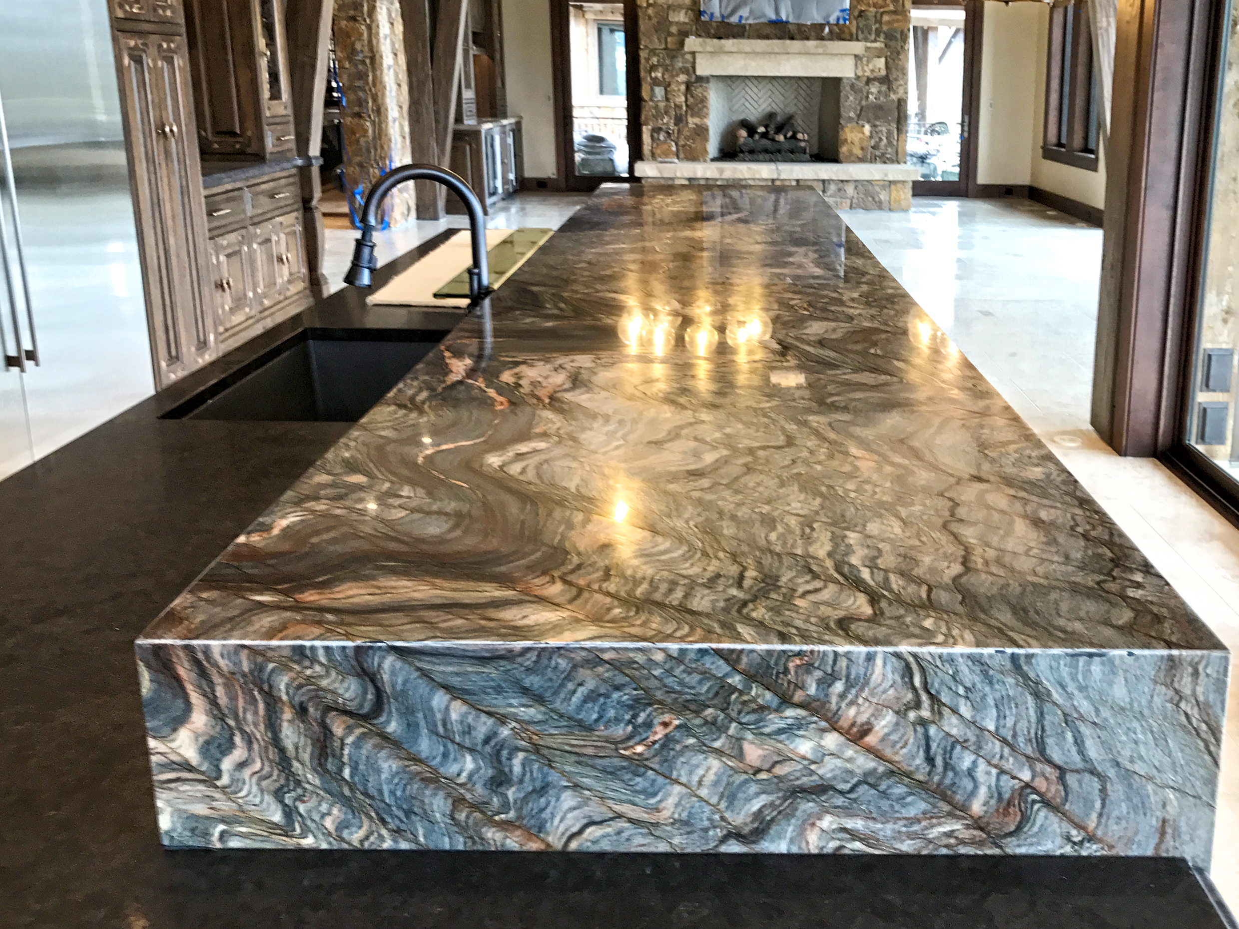 Fusion Granite Itchen Island 6cm Mitred Waterfall Edges Mirrored Flat Polish Edge