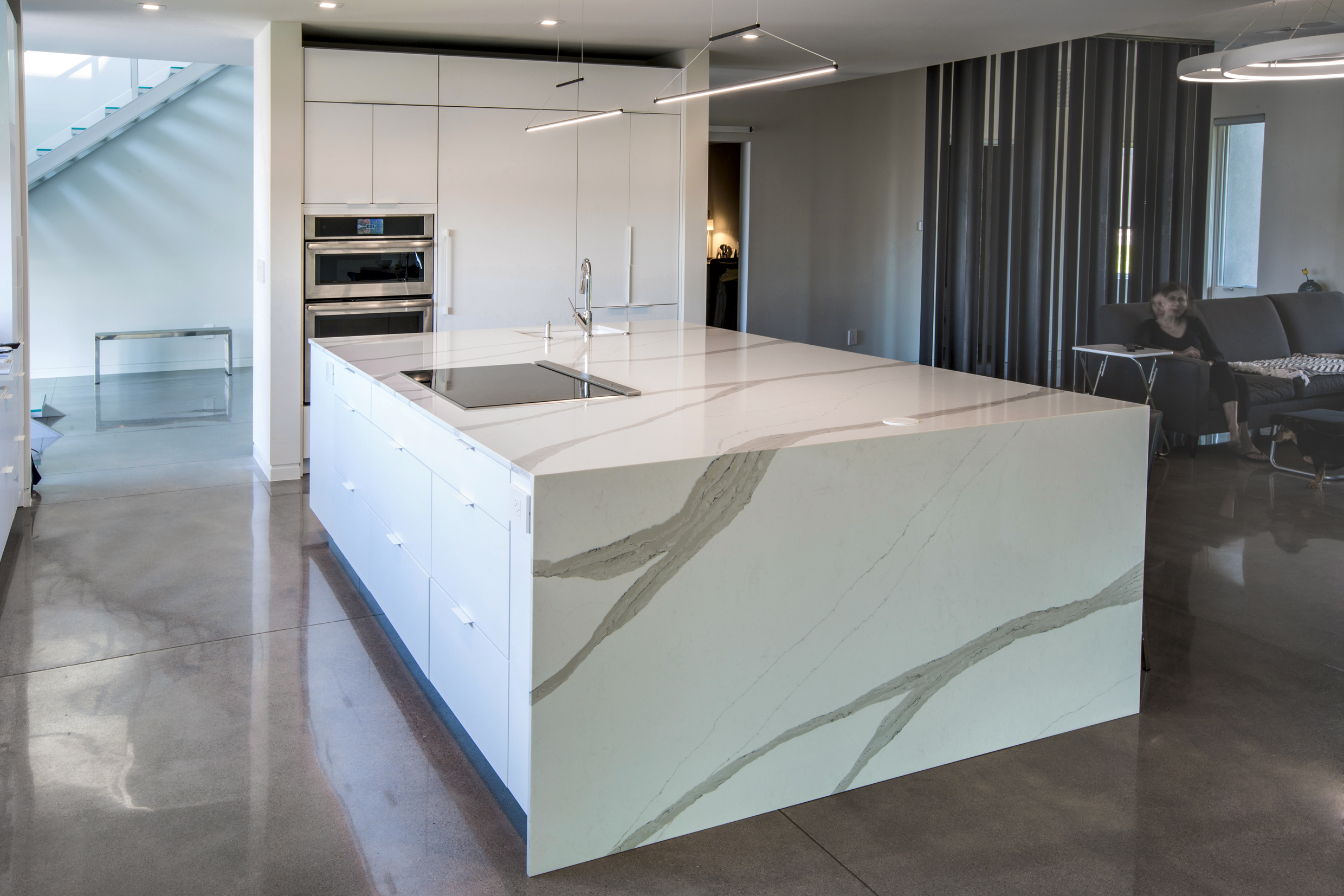 kitchen island 2cm Arabescato quartz pental surfaces, yk stone center denver, fabrication and installation company denver